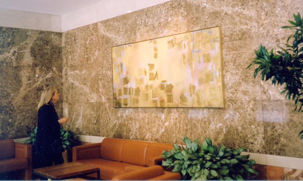 "Light Everyone, 94 x 42""H, 3-panel, 125 High Street Lobby, Boston Massachusetts. Artist: Suze Bienaimee."